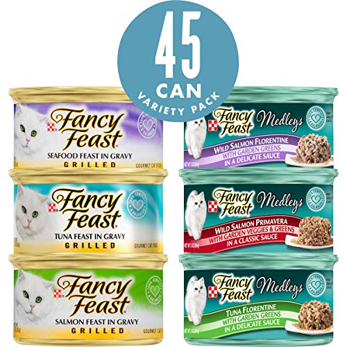 Purina Fancy Feast Wet Cat Food Variety Pack, Grilled Feast & Medleys Seafood Collection - (45) 3 oz. Cans