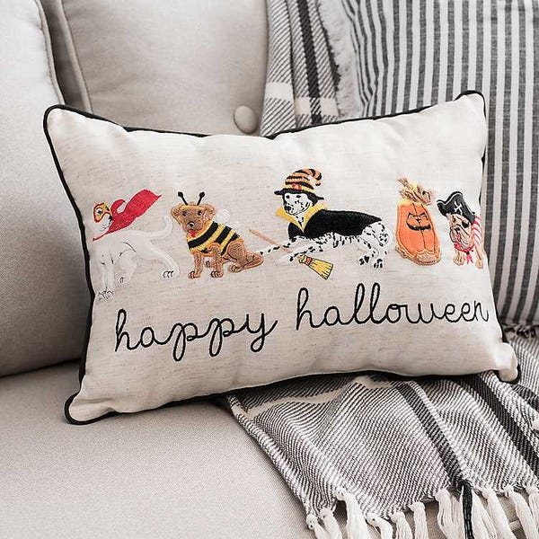 Dog Costume Party Embroidered Halloween Pillow