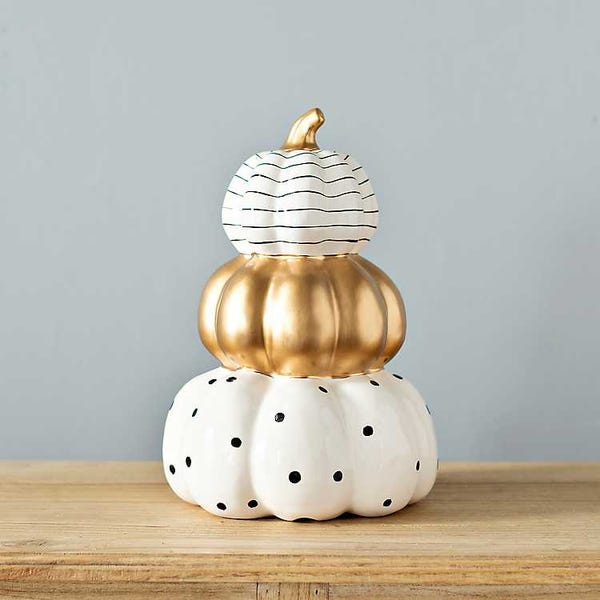 White and Gold 3-Tier Pumpkins