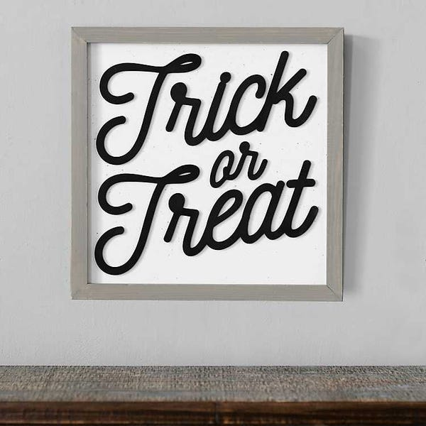 Black and White Trick or Treat Plaque