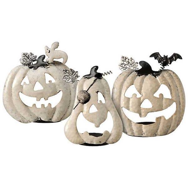 White Jack O' Lantern Candle Holders, Set of 3