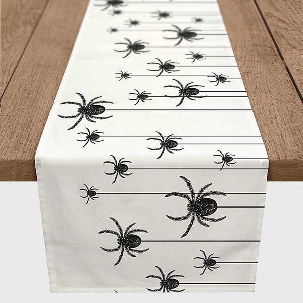 Black and White Spider Table Runner