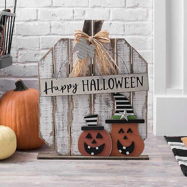 Outdoor Happy Halloween Wooden Pumpkin