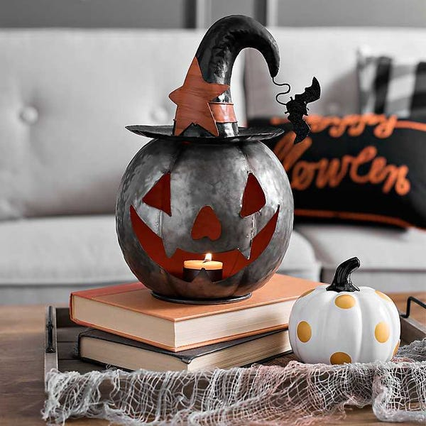 Metal Jack O' Lantern Candle Holder with Witch Hat