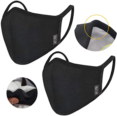 2-Pack Unisex Cloth Washable Reusable Cover - 100% Cotton 3 Layer Cover for Dust Particle & Droplet & pollen Protection - Dust Warm outdoor Cover Black - Ship From USA