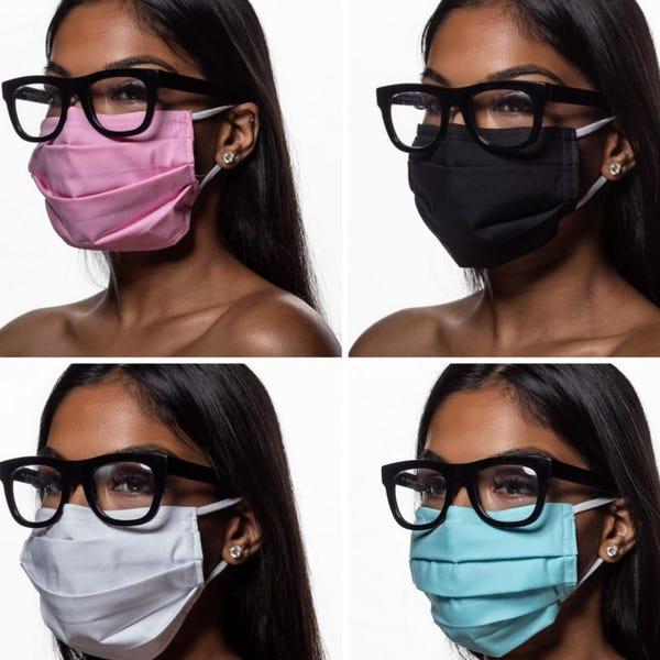 Face Mask for Glasses Wearers - Best Face Mask for Glasses - Face Mask that Won't Fog Glasses - Gift for Nurse - Adjustable Face Mask
