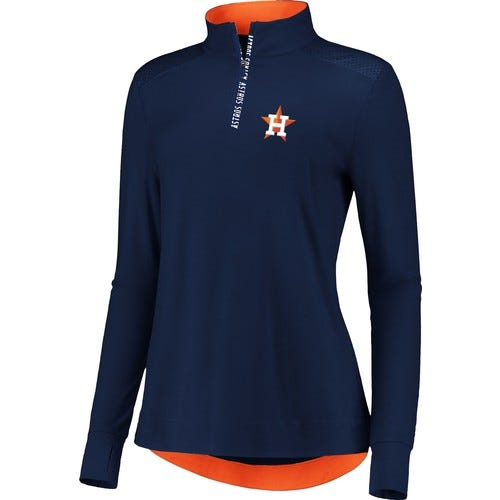 Fanatics Women's Houston Astros Navy Iconic Long Sleeve Quarter-Zip Shirt
