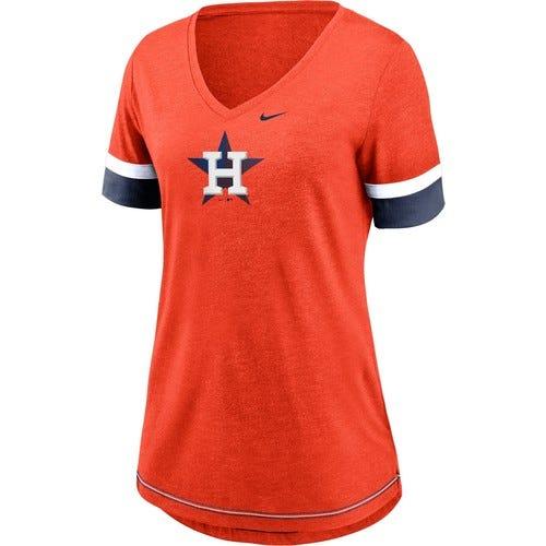 Nike Women's Houston Astros Orange Mesh Logo V-Neck T-Shirt