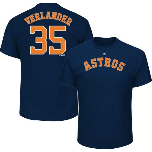 Majestic Men's Houston Astros Justin Verlander #35 Navy T-Shirt