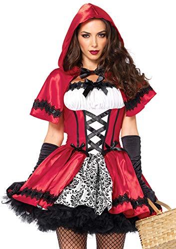 Leg Avenue Women's 2 Piece Gothic Riding Hood, Red/White, Medium