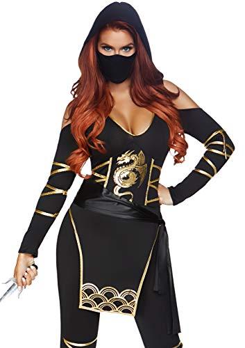 Leg Avenue Women's 3PC.Stealth Ninja, Black/Gold, Medium