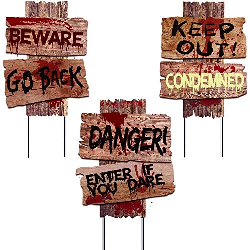 """Liecho Halloween Decorations Yard Signs Stakes Props Outdoor Decor Scary Zombie Vampire Graves Holiday Party Supplies 3 Pack(15"""" x 12"""")"""