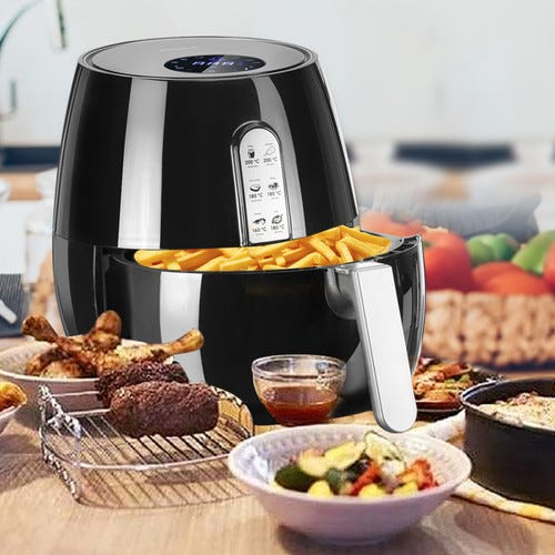 5.5qt Power Air Fryer w/LCD Touch Screen, Temperature Control, Timer, Removable Basket, Cooking Home