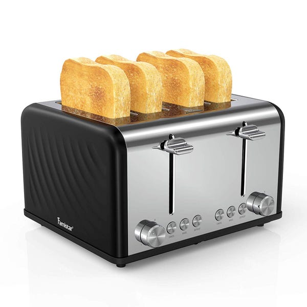 4 Slice Toaster, Stainless Steel Toaster with Defrost/Reheat/Cancel Function, Removable Crumb Tray, Extra Wide Slots, 6 Bread Shade Settings, 1650W, Black