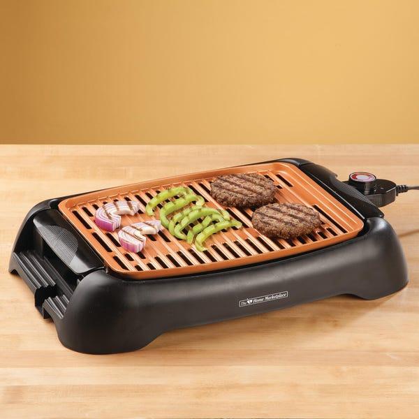 "NonStick Ceramic Copper 13"" Countertop Electric Grill by HMP"