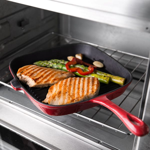 Better Homes & Gardens Enameled Cast Iron Grill Pan, Red