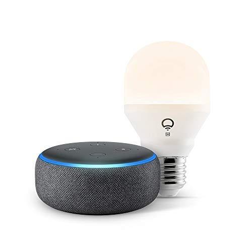 Echo Dot (3rd Gen) - Smart speaker with Alexa - Charcoal with LIFX Smart Bulb (Wi-Fi)