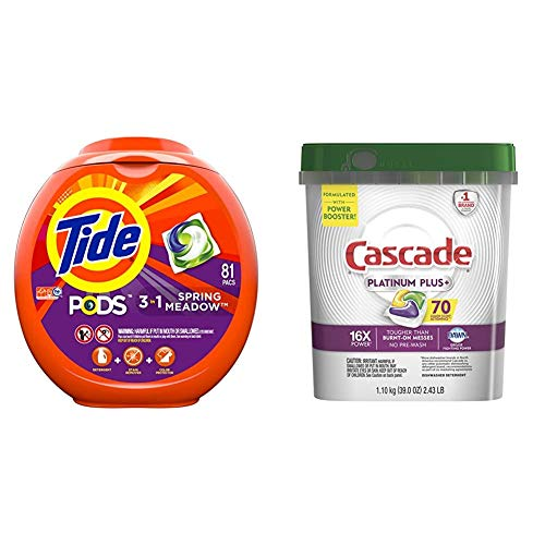 Tide Pods 3 in 1, Laundry Detergent Pacs, Spring Meadow Scent, 81 Count with Cascade Platinum Plus Dishwasher Pods, ActionPacs Detergent, Lemon, 70 Count