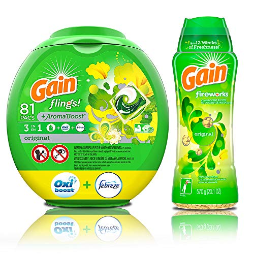 Gain Flings Original Laundry Detergent Pacs, 81 Count with in-Wash Scent Booster Beads