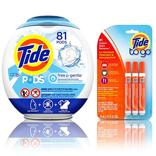 Tide Free and Gentle Laundry Detergent Pods, 81 Count, Unscented and Hypoallergenic for Sensitive Skin with Instant Stain Remover Liquid Pen, 3 Count