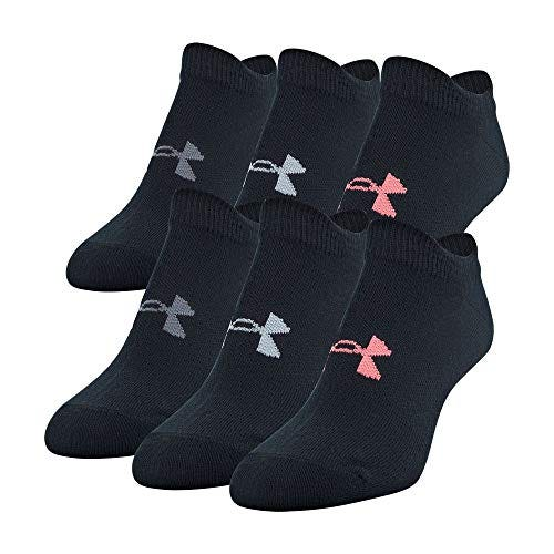 Under Armour Women's Essential 2.0 No Show Socks, 6-Pairs , Black Assorted , Shoe Size: Womens 6-9