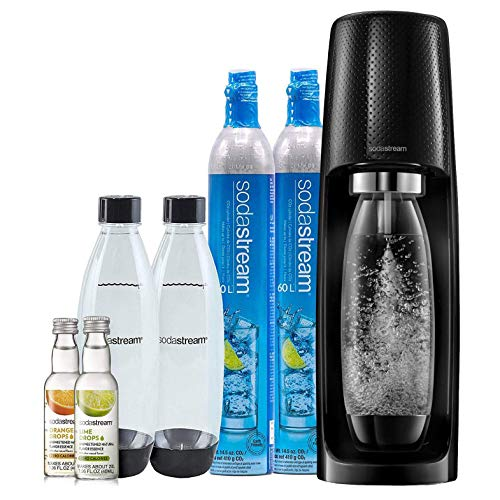 SodaStream Fizzi Sparkling Water Maker Bundle (Black), with CO2, BPA free Bottles and 0 Calorie Fruit Drops Flavors