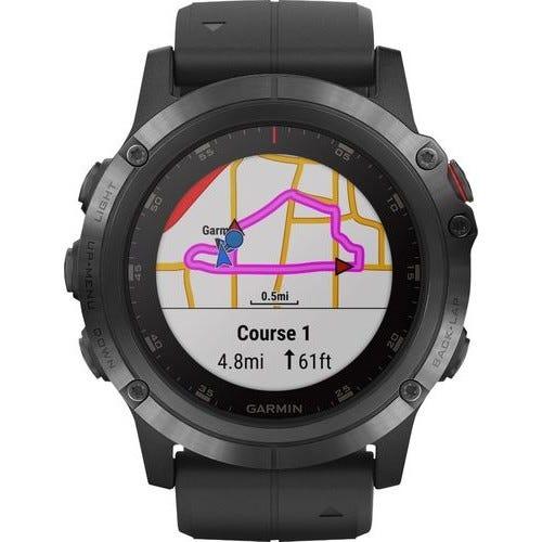 Garmin - Fēnix 5X Plus Sapphire Smart Watch - Fiber-Reinforced Polymer - Black with Black Band