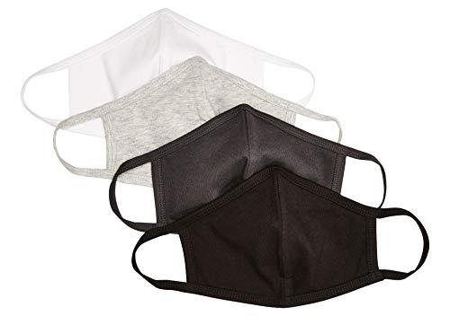 Quality Durables Unisex Adult 4-Pack Reusable Face Mask, White/Black/Heather Grey/Phantom Grey, Small/Medium