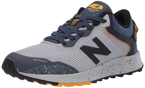 New Balance Kid's Fresh Foam Arishi Trail V1 Bungee Running Shoe, Light Aluminum/Stone Blue, 4 M US Big Kid