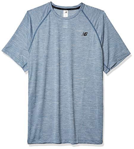 New Balance Men's Tenacity Short Sleeve, Stone Blue Heather, M