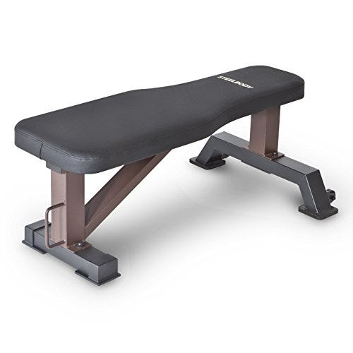 Steelbody Deluxe Versatile Rated 800 lbs Flat Utility Workout Bench Station for Home Gym Weightlifting and Strength Training STB-10101