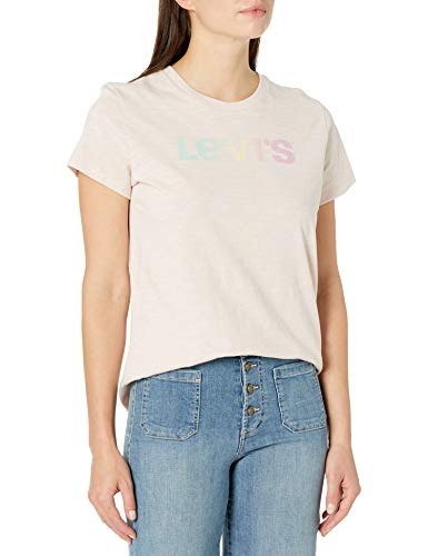 Levi's Women's Perfect Logo Tee Shirt, Gradient Text Peach Blush, Medium