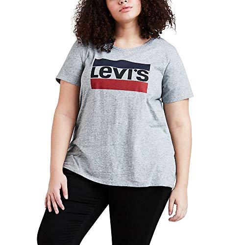 Levi's Women's Plus Size Perfect Tee-Shirt, Sportswear Smokestack Heather Graphic, 3 X