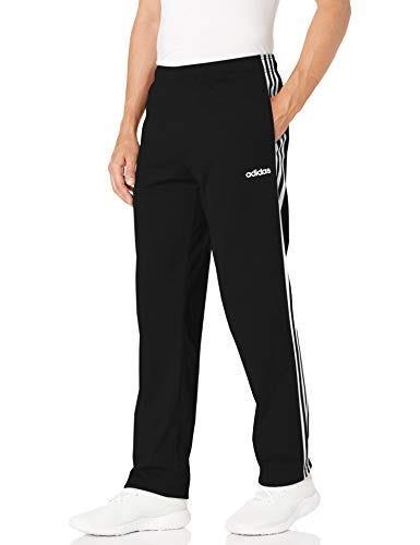 adidas Men's 3-Stripes Open Hem Pants, Black/White, Large