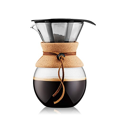 Bodum 11571-109 Pour Over Coffee Maker with Permanent Filter, Glass, 34 Ounce
