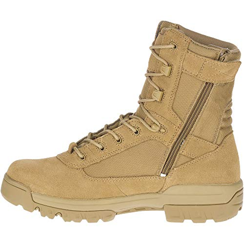 "Bates Men's 8"" Ultralite Tactical Sport Side Zip Military Boot, Coyote, 12 EW"