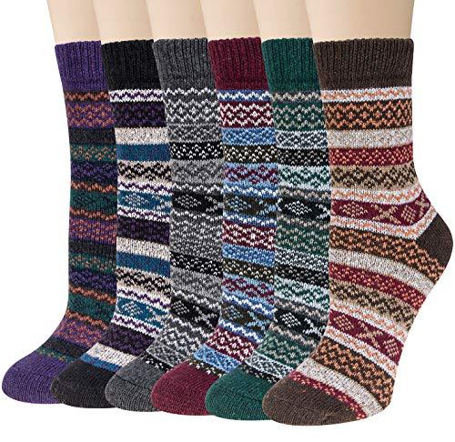 Loritta 6 Pairs Womens Wool Socks Winter Warm Vintage Style Thick Knitting Cozy Socks (Multicolor 09)