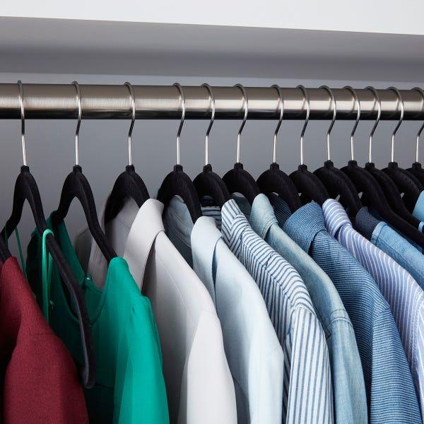 Black Premium Non-Slip Velvet Suit Hangers Case of 40