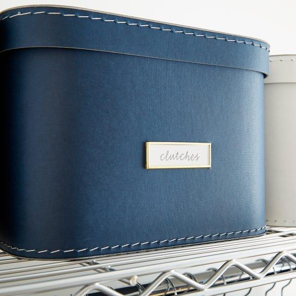 Navy Oskar Storage Box with Lid