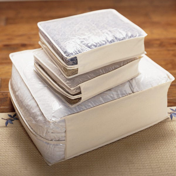 Cotton/PEVA Sweater Bags Natural Pkg/2