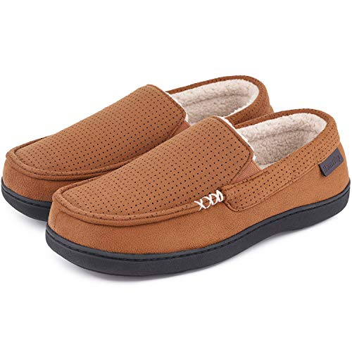 Men's Comfy Suede Memory Foam Moccasin Slippers Warm Sherpa Lining House Shoes with Anti-Skid Rubber Sole (9 M, Classic Tan)