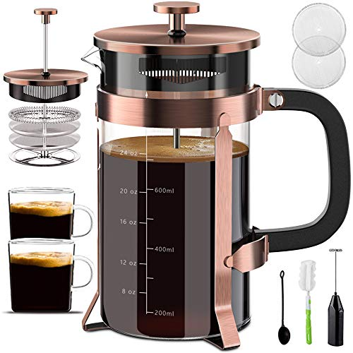 Upgraded French Press Coffee Maker Stainless Steel 34 oz, Coffee Press with Stainless Steel Stand Precise Scale Easy to Clean Durable Heat Resistant Glass Black/Copper/Silver