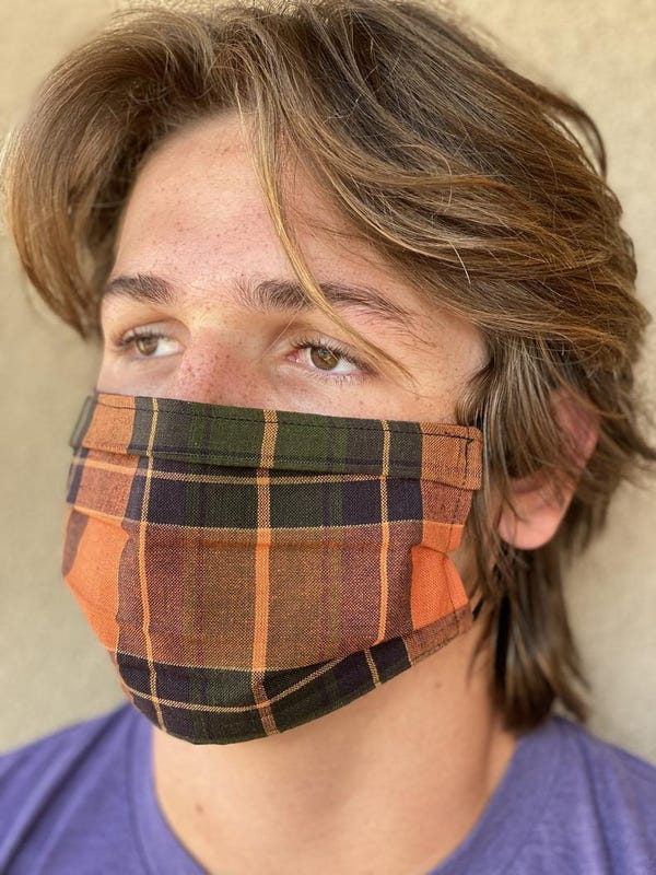 Plaid Face Mask Fall Autumn Orange and Green Lightweight Gingham