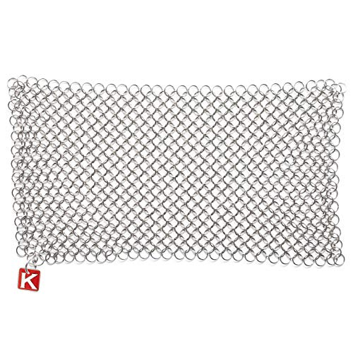 """Knapp Made CM Scrubber 9""""x6"""" Small Ring Chainmail Scrubber - For Cast Iron, Stainless Steel, Hard Anodized Cookware - Cast Iron Cleaner"""