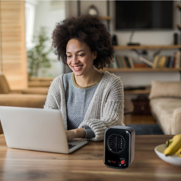 Lasko Model 100 MyHeat Personal Space Heater, Black - Compact Size, Ideal for the Desk or Around the Home Office