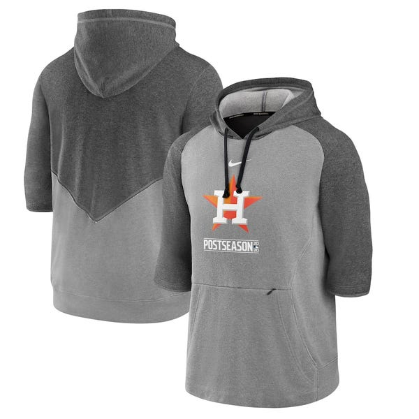 Houston Astros Nike 2020 Postseason Authentic Collection 3/4-Sleeve Pullover Hoodie - Charcoal/Heather Gray
