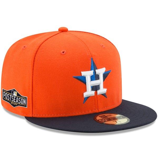 Houston Astros New Era Alternate 2020 Postseason Side Patch 59FIFTY Fitted Hat - Orange/Navy