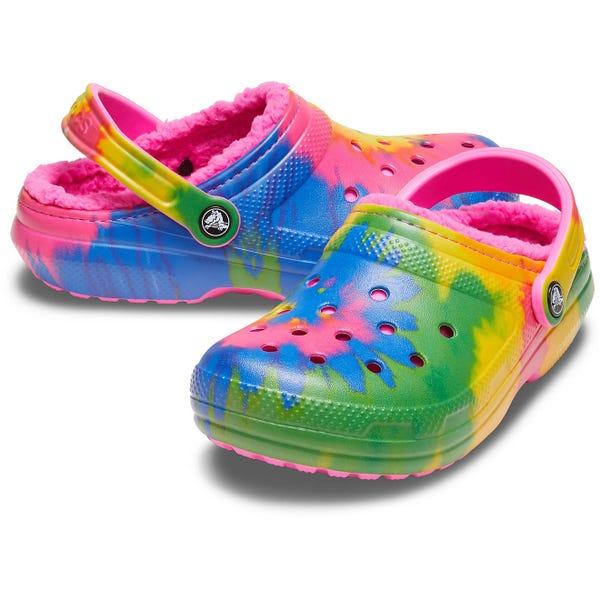 Crocs Adults' Classic Fuzz-Lined Tie-Dye Clogs