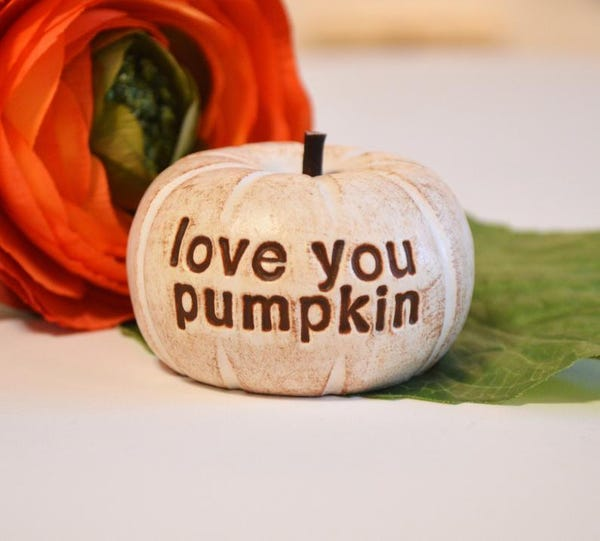love you pumpkin ... handmade keepsake gift for daughter, boyfriend, girlfriend, teenager tween son gift / perfect Christmas Holiday present