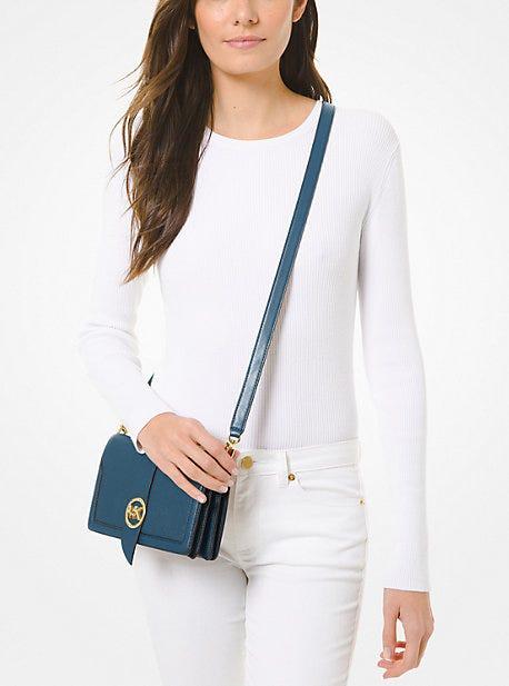 MK Charm Medium Pebbled Leather Crossbody Bag